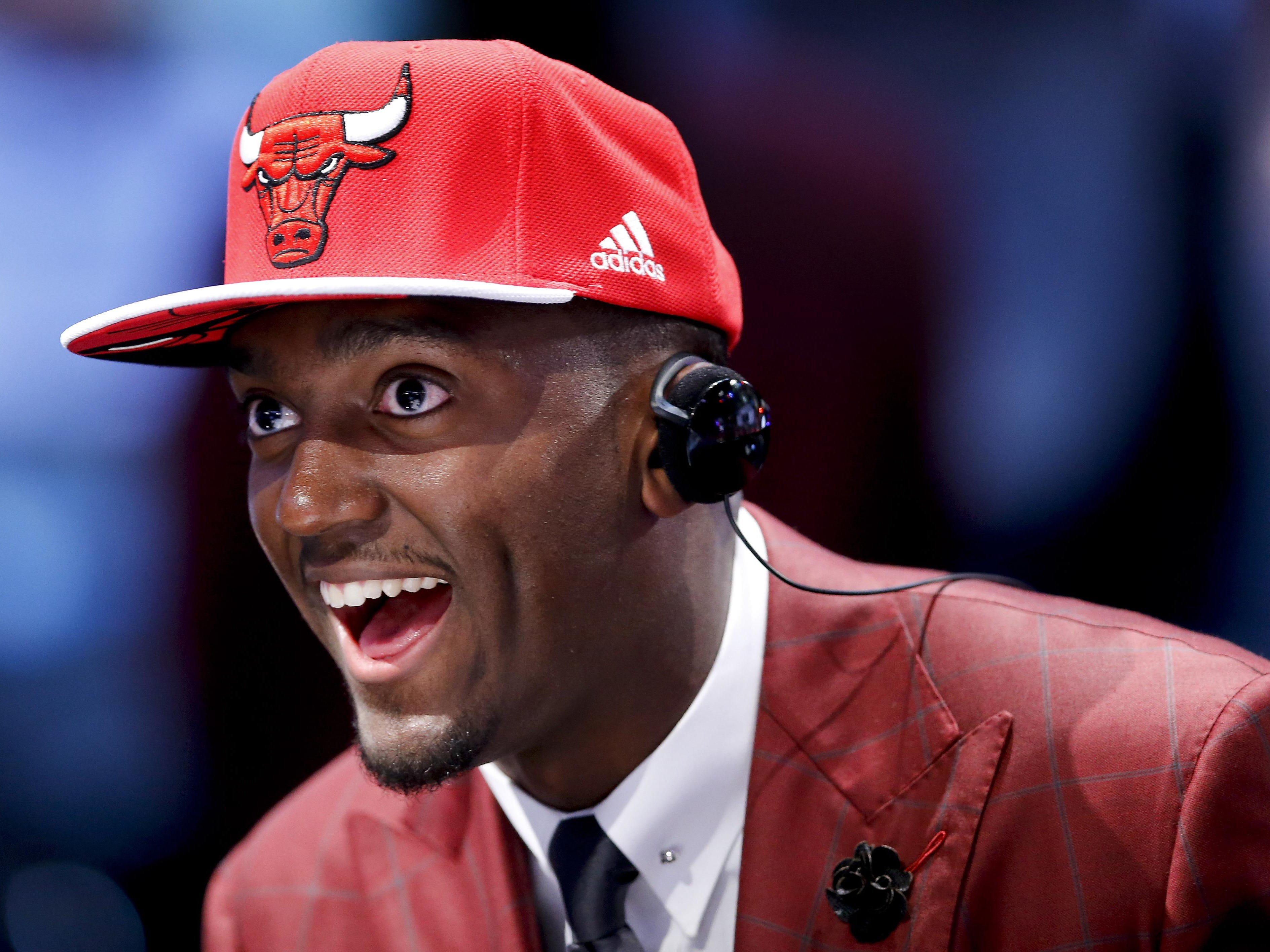 Bobby Portis answers questions during an interview after being selected 22nd overall by the Chicago Bulls during the NBA draft Thursday in New York.