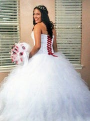A photo shows Samantha Aguilar during her quinceañera in 2014.