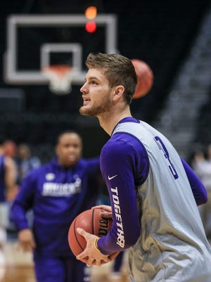 Kansas State's Dean Wade, a 6'10 forward, practices Wednesday afternoon in Philips Arena in Atlanta before the Sweet Sixteen game. Wade is expected to play against Kentucky. UK is 9-0 against K-State in the series history. March 21, 2018