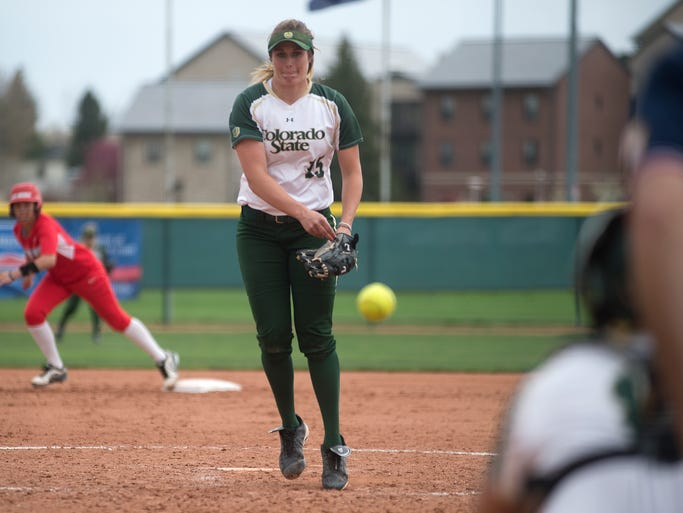 Holly Reinke pitches for Colorado State University during a series game against the New Mexico Lobos in Fort Collins Wednesday, April 23, 2014. The Rams beat the Lobos 13-5 for a series win.