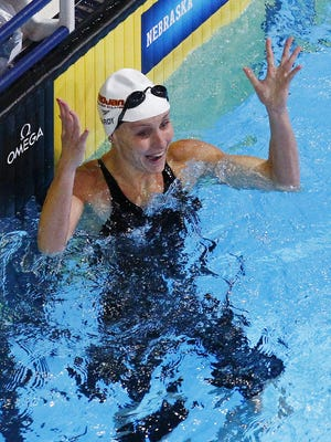 Jessica Hardy reacts after winning in the Women's 100 Meter Freestyle Final on June 30, 2012, during the USA Swimming Trials at CenturyLink Center in Omaha, Nebraska. Photo by Rob Schumacher, USA TODAY Staff