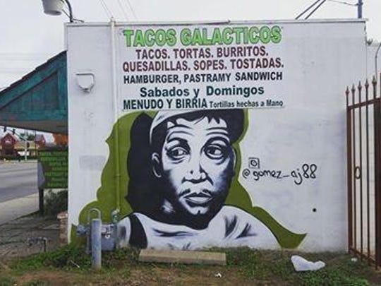 A.J. Gomez' Cantinflas mural on display at Tacos Galacticos in Visalia.