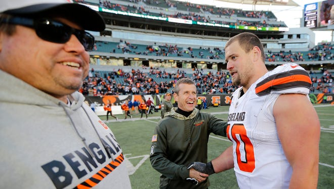 Cleveland Browns offensive guard Kevin Zeitler (70) shakes hands with his former coaching staff after the fourth quarter of the NFL Week 12 game between the Cincinnati Bengals and the Cleveland Browns at Paul Brown Stadium in downtown Cincinnati on Sunday, Nov. 26, 2017. The Bengals improved to 5-6 with a 30-16 win over the Browns.