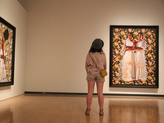 Maddie Sanford with Wiley Paintings, PHX Museum of Art