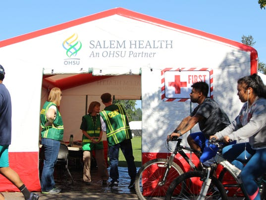 Salem Fire, CERT prepare triage tent at Riverfront Park