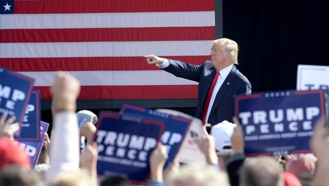 Donald Trump campaigns  on October 15, 2016, in Portsmouth, N.H.