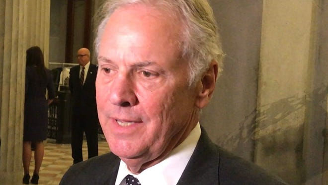 Gov. Henry McMaster talks Wednesday with reporters in the lobby of the South Carolina House of Representatives.