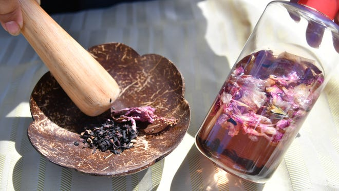 Dried hibiscus and rose can be diffused in witch hazel, to create a pretty pink facial toner.