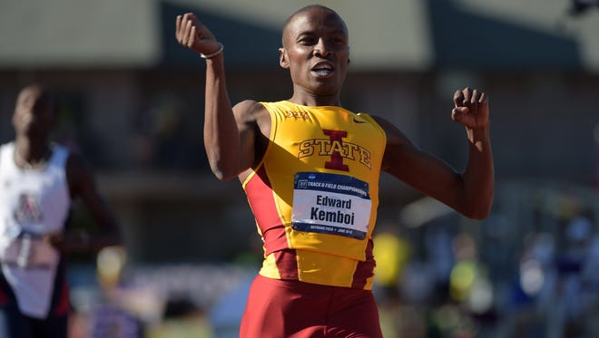 Edward Kemboi of Iowa State celebrates after winning the 800m in 1:49.26 in the 2015 NCAA Track & Field Championships at Hayward Field.