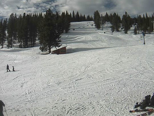 This is the scene at Mt. Shasta Ski Park last February, when the resort enjoyed a bountiful 2016-17 season of snow. So far, the slopes are dry this year.