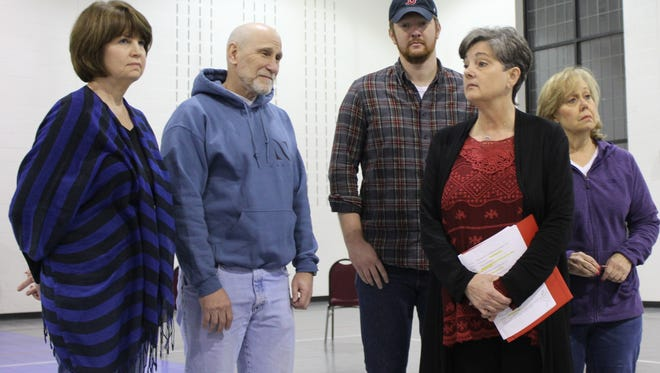 """From left: Debra Burchett, Doug LoPachin, Jacob Snowden, Betty Hukill and Becky Laird strike a pose during a rehearsal of """"They Might Be Giants"""" in the gym of First Central Presbyterian Church. The play, adapted to the stage by director Steve Faehnle, plays two nights next weekend at the Paramount Theatre."""