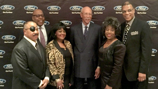 (left to right) Former Detroit Tiger left fielder Willie Horton, former Detroit Piston Vinnie Johnson, Diane Steward-Jones (sister of boxing trainer Emanuel Steward), former Piston and Detroit Mayor Dave Bing, Hollywood Golf Institute founder Selina Johnson, and former Detroit Piston Randy Henry were among those honored on Friday, Feb. 26, 2016, at the Annual Black History Month Celebration of the Ford-Employees African Ancestry Network.