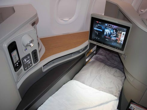 The first-class cabin of American Airlines' new Airbus A321 Transcontinental jets.