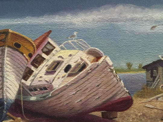 "Andrew Engel, ""When Boats Were Wood,"" oil on canvas, 5""x8"""