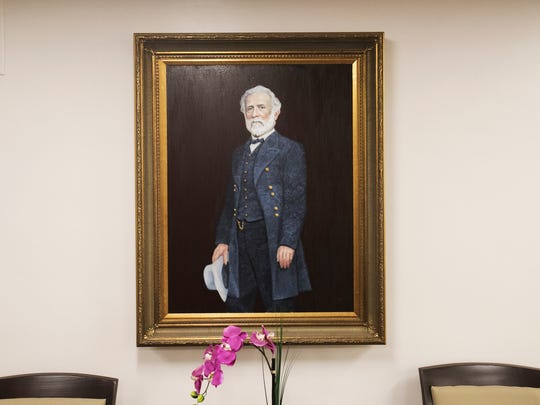 A portrait of Robert E. Lee hangs on the fourth floor