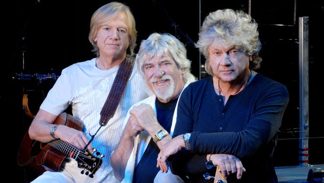 The Moody Blues current lineup of Justin Hayward, left, Graeme Edge and John Lodge.