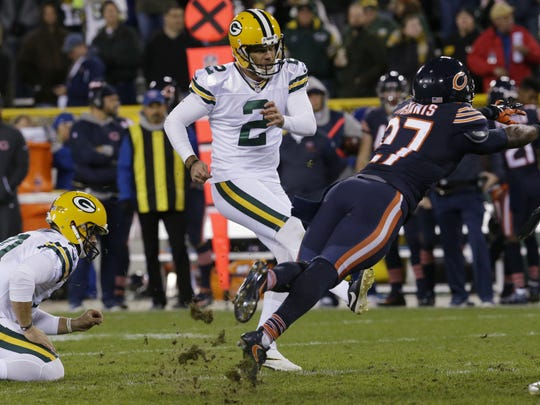 Green Bay Packers kicker Mason Crosby (2) watches his filed goal attempt blocked during the fourth quarter of their game Thursday, October 20, 2016 at Lambeau Field in Green Bay, Wis. The Green Bay Packers beat the Chicago Bears 26-10.