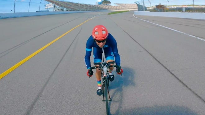 Jon Ornée broke a cycling speed record at Michigan International Speedway.