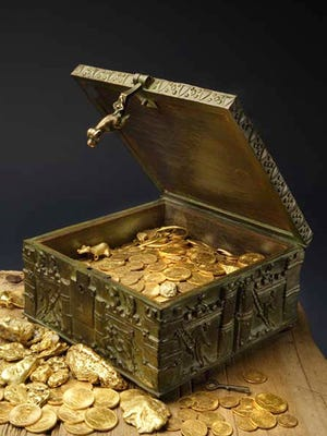 This undated photo provided by Forrest Fenn shows a chest purported to contain gold dust, hundreds of rare gold coins, gold nuggets and other artifacts.  F