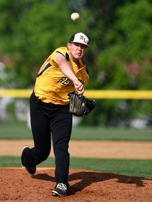 Red Lion starter Tyler Burchett pitches against Dallastown during the District 3 Class 6-A baseball semifinal game at Spring Grove, Tuesday, May 29, 2018. John A. Pavoncello photo