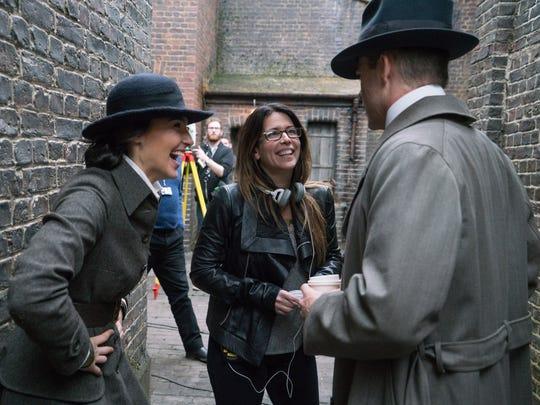 Director Patty Jenkins enjoys a light moment with Gal