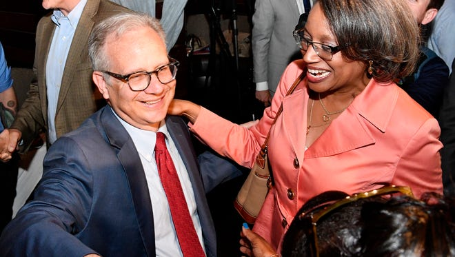 Mayor David Briley and Judge Angelita Blackshear Dalton celebrate his victory at his Election Night party Thursday, May 24, 2018, at Cabana in Nashville, Tenn. Thursday''s election was to fill the remaining time on former Mayor Megan Barry's term.