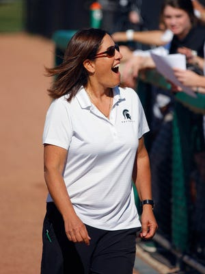 Michigan State head coach Jacquie Joseph smiles during the game against Indiana Friday, April 15, 2016, in East Lansing, Mich. Michigan State won 6-2.
