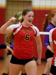 Seton's Sarah Dickman celebrates a point against Hagerstown
