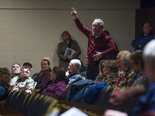Bob Magoon speaks in favor of a bond to renovate the