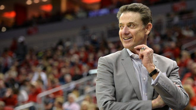 Dec 5, 2015; Louisville, KY, USA; Louisville Cardinals head coach Rick Pitino smiles during the second half against the against the Grand Canyon Antelopes at KFC Yum! Center. Louisville defeated Grand Canyon 111-63.  Mandatory Credit: Jamie Rhodes-USA TODAY Sports