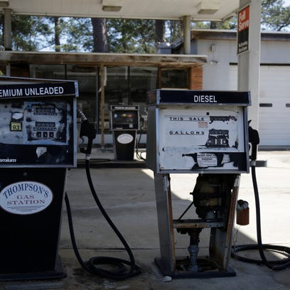 The pumps at Thompson's Gas Station on highway 19 in