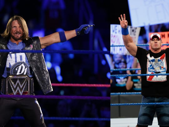 AJ Styles (left) will defend his WWE Championship against John Cena (right) Sunday at the Mississippi Coliseum.
