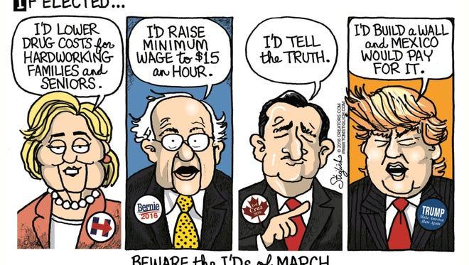 Tom Stiglich, www.TomStiglich.com, drew this Desert Sun editorial cartoon for March 18, 2016.