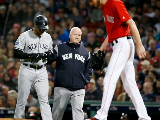 Injured Yankees CF Hicks available for Game 2