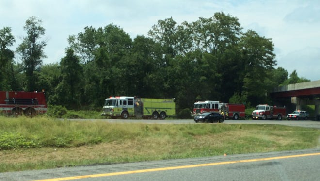Emergency and fire response on I-84 East, one mile from exit 17
