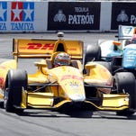 Josef Newgarden collided with Ryan Hunter-Reay (not pictured) while racing for the lead Sunday at the Toyota Grand Prix of Long Beach.