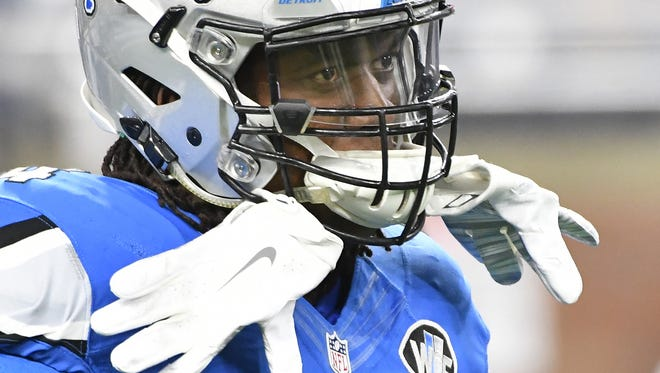 Lions defensive end Ezekiel Ansah arrives to the field for the preseason game against the Buffalo Bills.