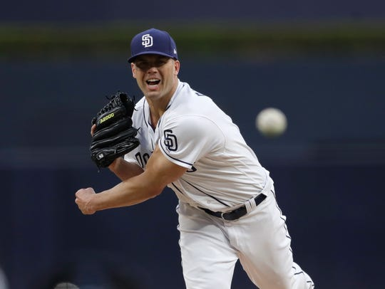 San Diego Padres starting pitcher Clayton Richard works