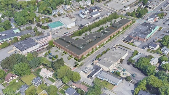 A rendering of the design for a senior living development at 100 West Street in Needham