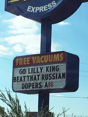 The Shine On Express Car Wash at 1838 Hirschland Road in Evansville showed its support for Reitz grad and Olympic swimmer Lilly King on its sign Monday.