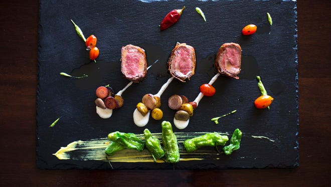Serrano Wrapped Lamb by Chef Gio Osso, March 23, 2015, at Virtu in Scottsdale.