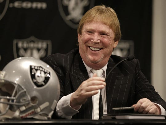 Oakland Raiders owner Mark Davis laughs during a news conference Jan. 16, 2015, in Alameda, Calif.