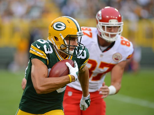 Green Bay Packers receiver Jeff Janis (83) runs after