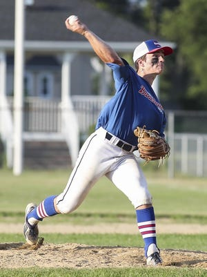 Plymouth's Cam Caraher winds up for the pitch in an Area X baseball game last week against Bridgewater.