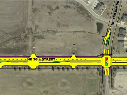 A diagram of the western side of the Northeast 36th Street reconstruction project in Ankeny.
