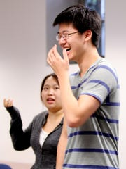Christopher Gao makes a joke during a class exercise in Chic Street Man's communication class at the Heifetz Institute's summer program on Mary Baldwin College's campus on Thursday, July 14, 2016.