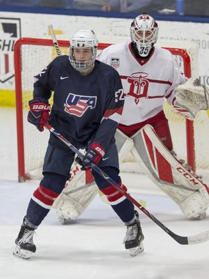 Johnny Beecher in action for the USA under-17 national team against Dubuque on Jan. 26 at USA Hockey Arena in Plymouth, Michigan.