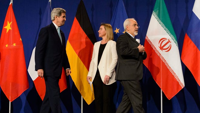 Secretary of State John Kerry, European Union High Representative for Foreign Affairs and Security Policy Federica Mogherini and Iranian Foreign Minister Mohammad Javad Zarif.
