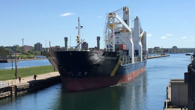 The Zelada Desgarnes, a cargo ship flying under the flag of Barbados, enters the Soo Locks headed to Lake Superior on its way to Thunder Bay, Ontario to pick up a load of grain on June 2, 2017.