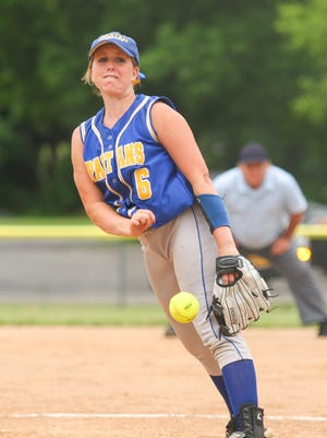 Emily Hess handled the pitching duties for  Maine-Endwell in the Class A sub-regional game at BAGSAI on Thursday, June 2, 2016.